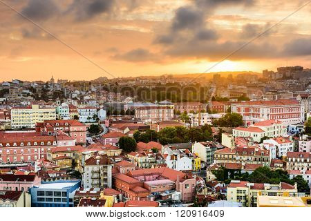 Lisbon, Portugal Baixa district skyline during sunset.
