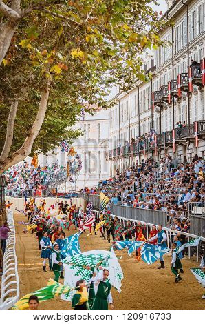 Exhibition Of Flag Bearers On Track Of The Palio
