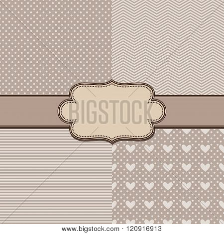vector set four simple textures and vintage ribbon