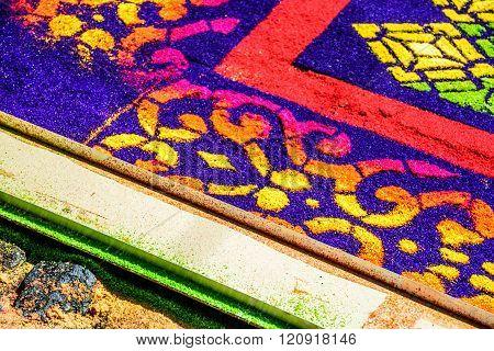 Closeup Dyed Sawdust Lent Carpet With Edging, Antigua, Guatemala