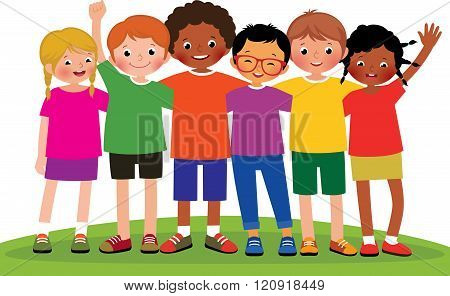 Group Of Children Friends On A White Background