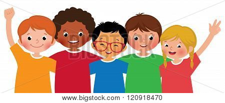 International Group Of Children Friends Hugging Each Other On A White