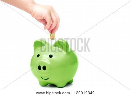 baby's hand putting a golden coin into a green piggy bank - young generation doing green saving concept