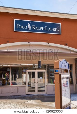 MONTREAL CANADA - MARCH 6 2016 - Polo Ralph Lauren outlet in Premium Outlets Montreal. The Premium Outlets is the second Premium Outlet Center in Canada located in Mirabel Quebec.