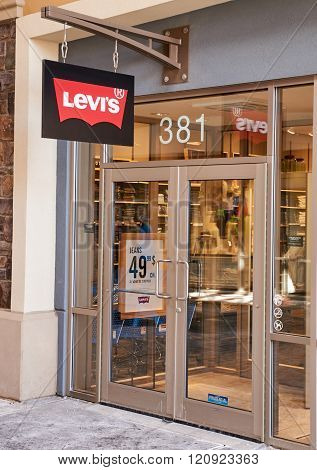 MONTREAL CANADA - MARCH 6 2016 - Levi's outlet in Premium Outlets Montreal. The Premium Outlets is the second Premium Outlet Center in Canada located in Mirabel Quebec.