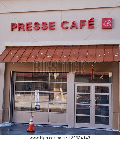 MONTREAL CANADA - MARCH 6 2016 - Presse Cafe in Premium Outlets Montreal. The Premium Outlets is the second Premium Outlet Center in Canada located in Mirabel Quebec.