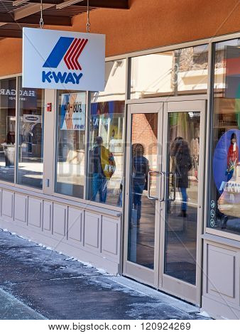 MONTREAL CANADA - MARCH 6 2016 - K-Way outlet in Premium Outlets Montreal. The Premium Outlets is the second Premium Outlet Center in Canada located in Mirabel Quebec.