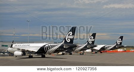 Air New Zealand Jets Lined Up At Christchurch Airport.