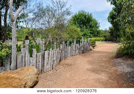 Pathway with Rustic Fence