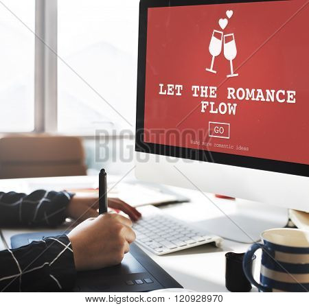 Let The Romance Flow Love Passion Valentines Concept poster