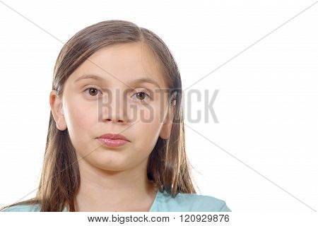 portrait of pre teenage girl isolated on a white background