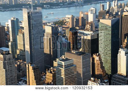 high angle view of New York skycrapers