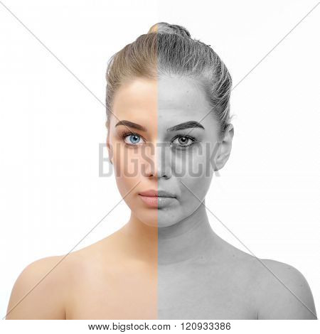 Anti-aging concept. Beautiful woman with problem and clean skin. Aging and youth concept, beauty treatment, cosmetology, lifting. Female face before and after facial rejuvenation or plastic surgery. poster