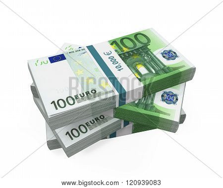 Stacks of 100 Euro Banknotes