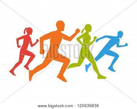 Colored silhouettes of runners. Flat vector figures marathoner. Flat running symbol. Vector running and marathon logo. Flat shapes runners.