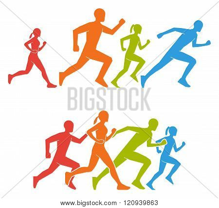 Flat Vector Figures Marathoner. Colored Silhouettes Of Runner.