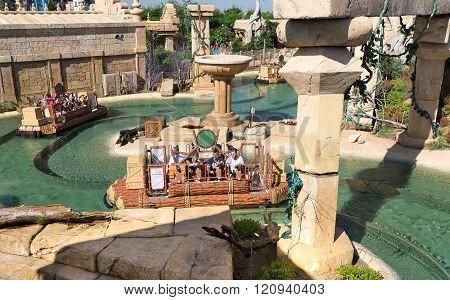 Salou, SPAIN - AUGUST 26, 2014: Amusement Park Port Aventura
