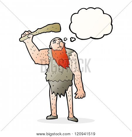 cartoon neanderthal with thought bubble