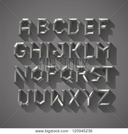 Alphabet font Silver metal Block of Ancient Greece Letters