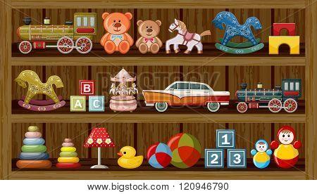 Shop Of Vintage Toys. Vector