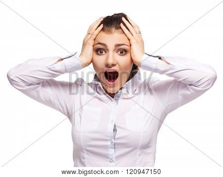 Woman at white background. Young hysterics female isolated