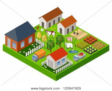 Farm Toy Isometric Block. Isolated. Map Elements. Vector Illustration