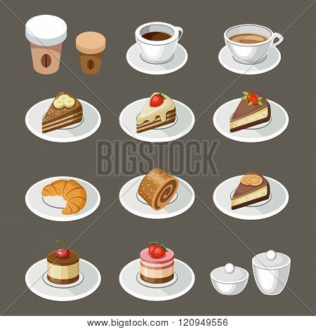 Vector set of sweets and coffee on brown background