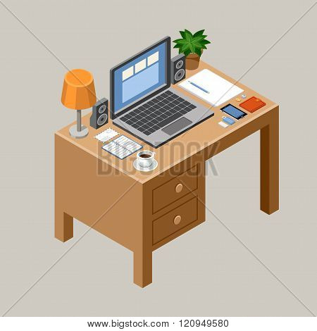 Flat isometric vector workspace. Desk. Office. laptop smartphone lamp coffee