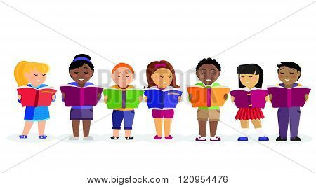 Group of Children Reading Books