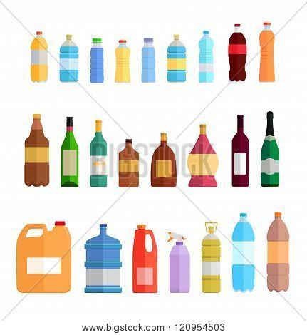 Bottle set design flat oil and beverage. Bottle and water bottle, plastic bottle, wine bottle, beer bottle, glass bottle, beverage bottle, oil bottle, drink bottle, whiskey bottle illustration poster