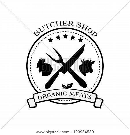 Butcher Shop Design Elements, Labels, Badges Logo