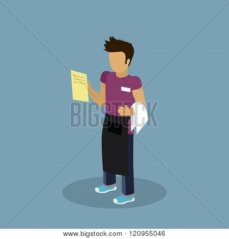 Profession Waiter Design Flat Chatacter