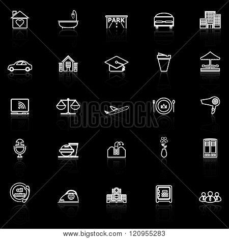 Hospitality business line icons with reflect on black background stock vector