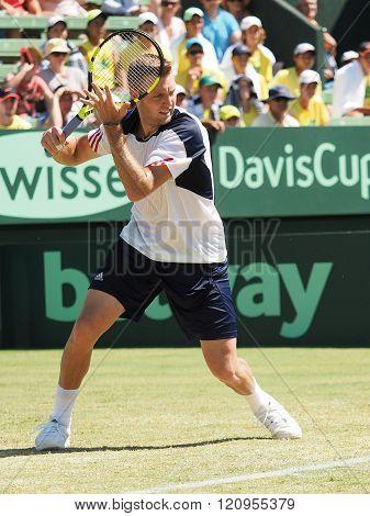 Jack Sock at the Davis Cup tie against Australia