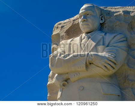 Washington D.C., USA - June 24, 2015: The famous Martin Luther King Jr. memorial statue on a sunny day