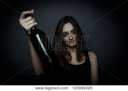 The Social Problem. Young Unhappy Woman Uses Alcohol From A Bottle