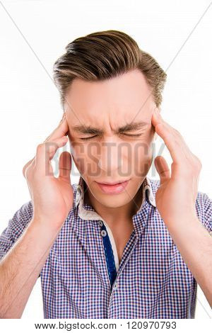 Handsome Man Touching His Head Suffering From Headache, Close Up Photo