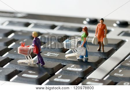 Miniature Shoppers  With Shopping Cart