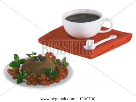 Chocolate Dessert And Coffee Or Tea ~ Focus On Berries And Creme