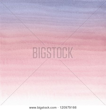Abstract Watercolor Hand Painted Background. Serenity and Rose Quartz Tint Watercolour Texture Gradient. Pastel Colored Palette.