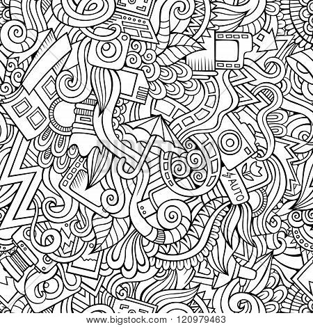 Cartoon hand-drawn doodles of photography  seamless pattern
