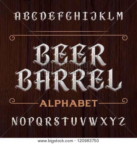 Old decorative alphabet vector font. Type letters on the dark wooden background.