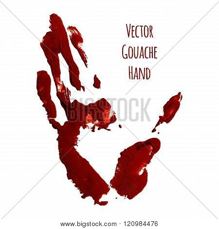 Vector blue greased hand of gouache