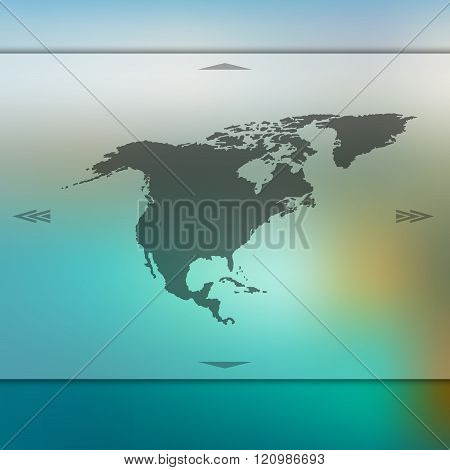 Blurred background with silhouette of North America