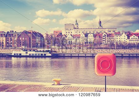 Vintage toned picture of Szczecin, city by the Odra River, Poland.