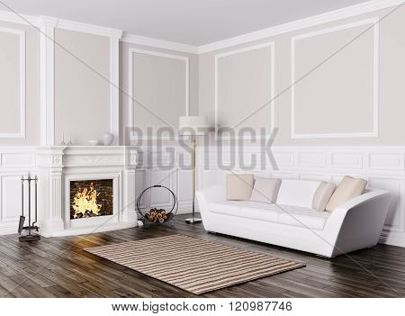 Classic Interior Of Living Room With Sofa And Fireplace 3D Render