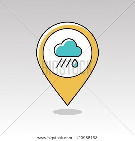 Rain Cloud Pin Map Icon. Downpour. Weather