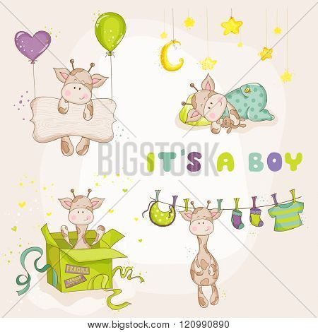 Baby Boy Giraffe Set - Baby Shower or Arrival Card - in vector