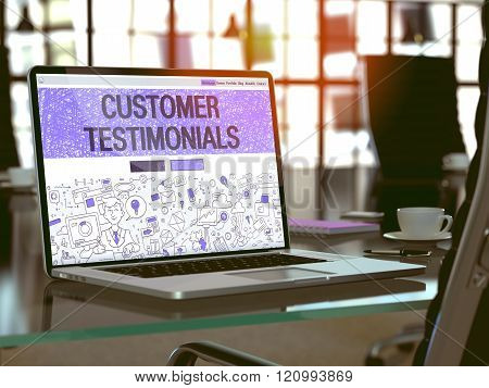 Customer Testimonials - Concept on Laptop Screen.