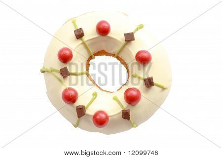 White doughnut isolated on white background
